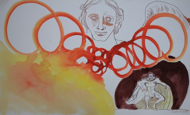Werf auf die Knie dich es ist der Heer Engel - 61 x 37 cm - Tusche und Aquarell auf Bütten (c) Zeichnung von Susanne Haun
