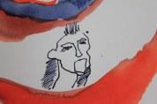 Arbeit an dem Gesang von der Ankunft der Seelen - 18 x 19 cm - Tusche und Aquarell auf Bütten (c) Zeichnung von Susanne Haun