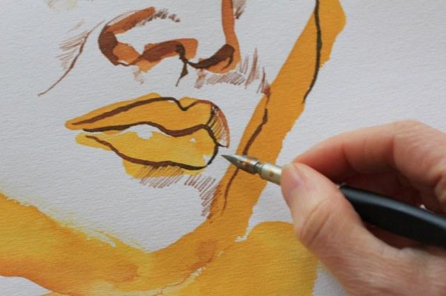Detail Mund - Meine Vorstellung von Elfriede Lohse-Wächtler - 70 x 50 cm - Tusche auf Aquarellpapier - 2017 (c) Zeichnung von Susanne Haun