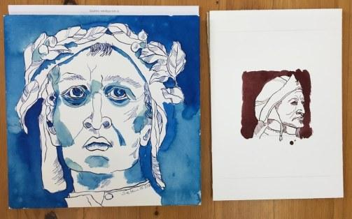 Größenvergleich meiner Vorstellungen von Dante Alighieri (c) Zeichnungen von Susanne Haun