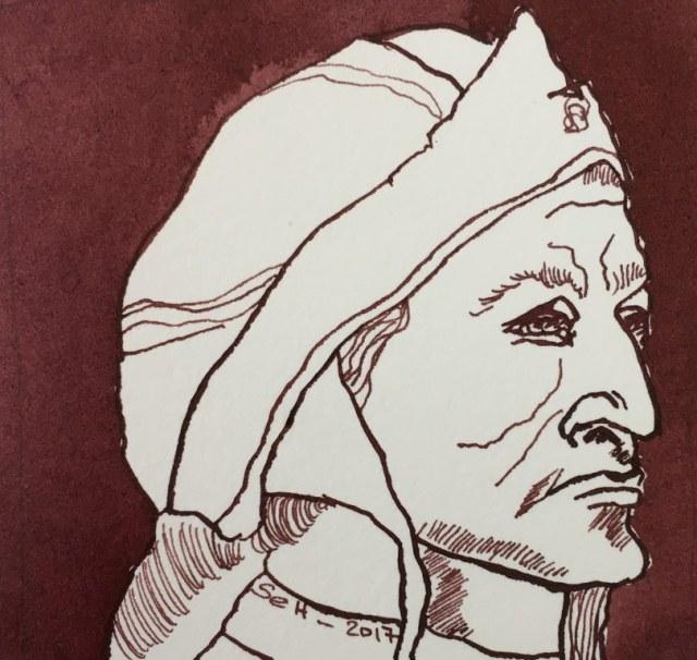 Meine Vorstellung von Dante Alighieri - 10 x 10 cm - Tusche auf Aquarellkarton - Version 2 Zuschnitt (c) Zeichnung von Susanne Haun