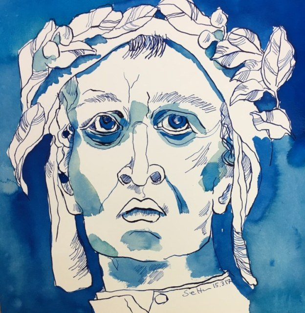 Meine Vorstellung von Dante Alighieri - 25 x 25 cm - Tusche auf Aquarellkarton (c) Zeichnung von Susanne Haun