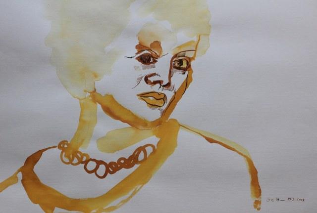 Meine Vorstellung von Elfriede Lohse-Wächtler - 70 x 50 cm - Tusche auf Aquarellpapier - 2017 (c) Zeichnung von Susanne Haun
