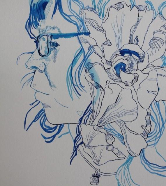 2. Etappe Portrait Selbst 8.4.2017 (c) Zeichnung von Susanne Haun