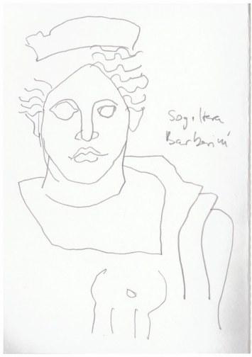 Sogiltera Barberini Abgusssammlung antiker Plastik in der Gemäldegalerie Dresden(c) Zeichnung von Susanne Haun