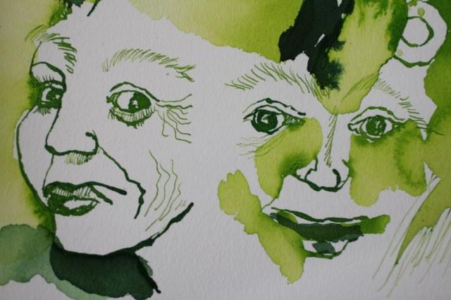 Ausschnitt - ... und dabei sehr fröhlich und sorglos - 30 x 40 cm - Tusche auf Aquarellkarton (c) Zeichnung von Susanne Haun