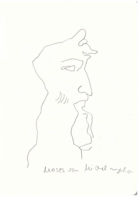 Moses von Michelangelo - Abgusssammlung antiker Plastik in der Gemäldegalerie Dresden (c) Zeichnung von Susanne Haun