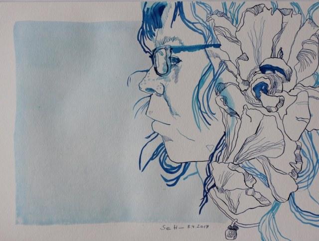 Portrait Selbst 8.4.2017 (c) Zeichnung von Susanne Haun