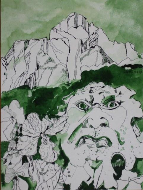 Behüter der Natur - Zeichnung von Susanne Haun - 48 x 36 cm - Tusche auf Bütten