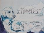 Der Hundemann - Mann von Uinigumasuittuq der späteren Sedna - 30 x 40 cm - Tusche auf Aquarellkarton (c) Zeichnung von Susanne Haun