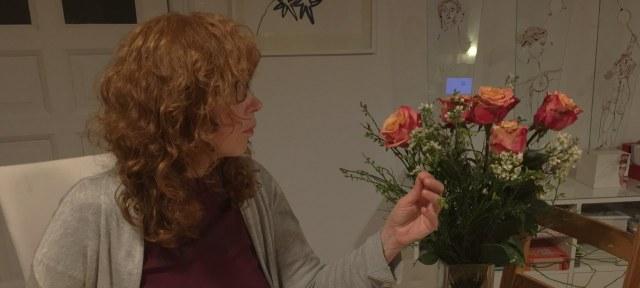 Ich, Susanne Haun, und meine Geburtstagsblumen (c) Foto von M.Fanke