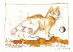 Katze Ernie in Bewegung - Tusche auf Aquarellkarton - 17 x 22 cm (c) Zeichnung von Susanne Haun