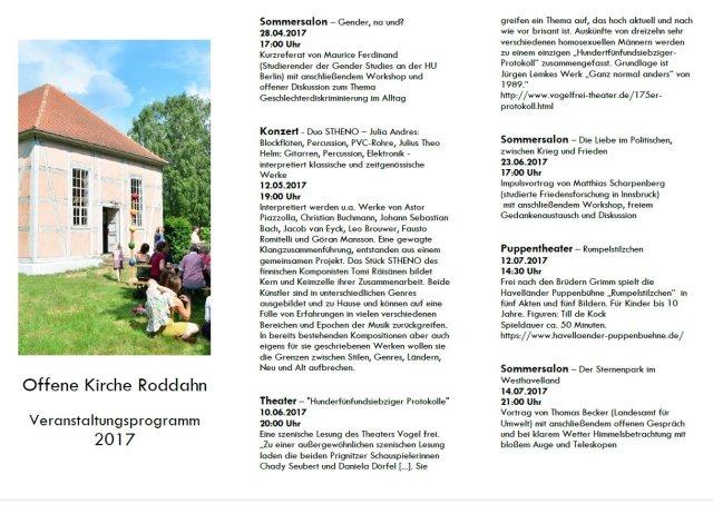 Offene Kirche Roddahn - Veranstaltungen 2017 - Seite 1 (c) Nina Alice Schuchardt