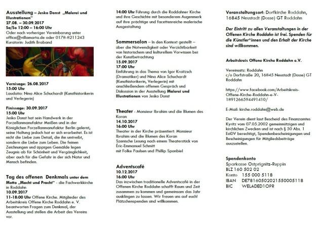 Offene Kirche Roddahn - Veranstaltungen 2017 - Seite 2 (c) Nina Alice Schuchardt