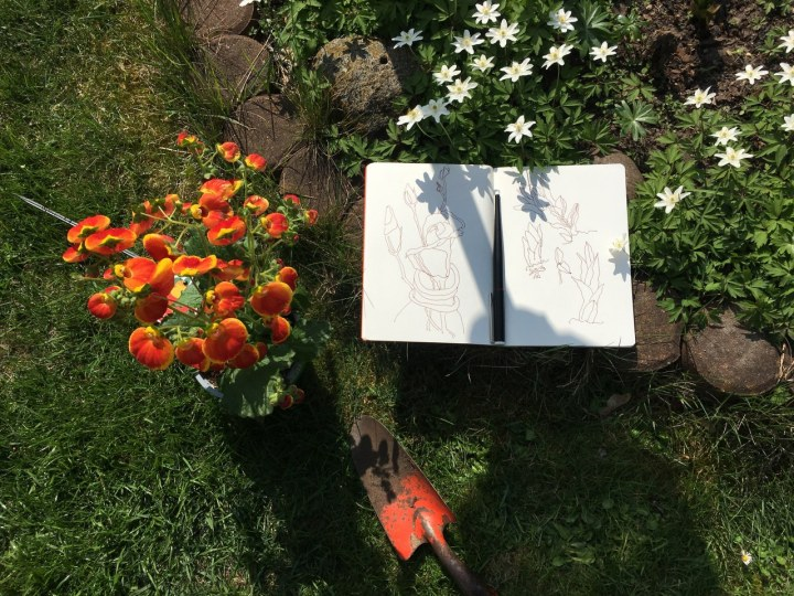 Zeichnen von Blumen im Freien (c) Zeichnung un Foto von Susanne Haun (1)