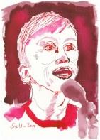 Annie Lennox - Version 1 - 17 x 24 cm - Tusche auf Hahnemühle Aquarellkarton Burgund (c) Zeichnung von Susanne Haun
