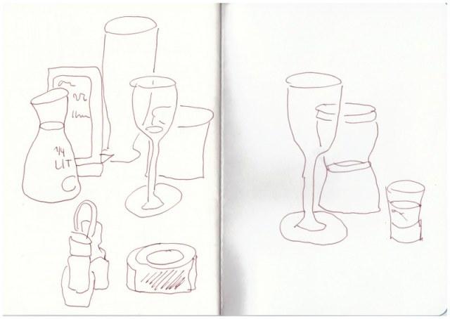 Kurze Skizze im Restaurant (c) Zeichnung von Susanne Haun