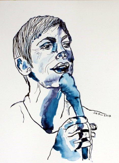 Mein Sinnbild von Annie Lennox - Version 3 - Tusche auf Aquarellkarton Burgund, 40 x 30 cm (c) Zeichnung von Susanne Haun
