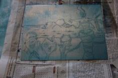 Die Linien von Tulugaqs Weg zur Erkenntnis sind gut in die Zinkplatte geätzt (c) Radierung und Foto von Susanne Haun