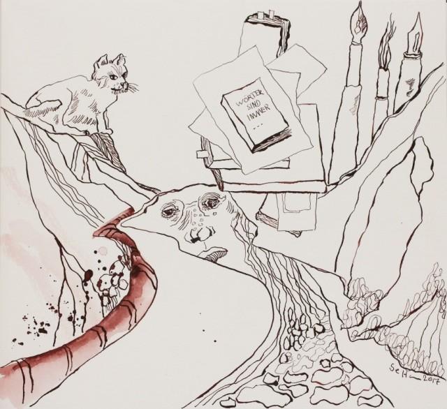 Aber dann sah ich es Am Ende des Weges war alles voller Bücher, Papier und Tinte - 30 x 40 cm - Tusche auf Aquarellkarton (c) Zeichnung von Susanne Haun