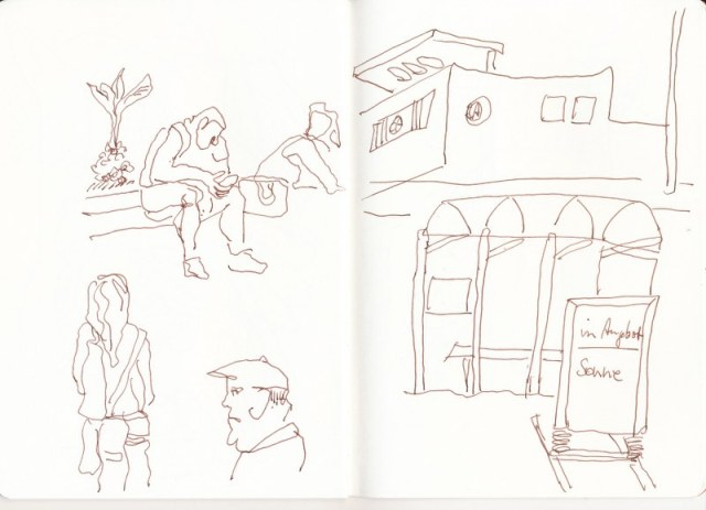 An der Bushaltestelle (c) Zeichnung von Susanne Haun