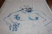 Entstehung Der Hundemann der Sedna - Tusche auf Leinwand (c) Zeichnung von Susanne Haun