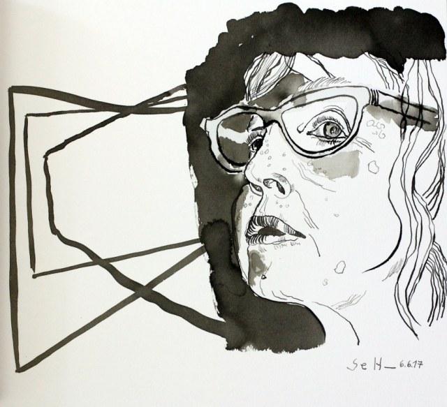 Ich schaue mich im Spiegel an und denke Nichts - 30 x 40 cm - Tusche auf Aquarellkarton (c) Zeichnung von Susanne Haun