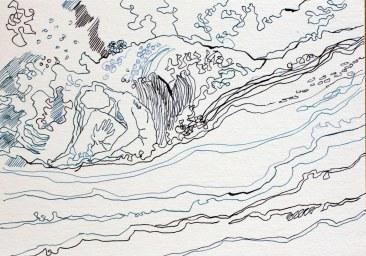 Sedna die Wellenhexe - Version 2 –22 x 34 cm – Tusche auf Aquarellkarton (c) Zeichnung von Susanne Haun