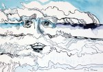 Sedna die Wellenhexe - Version 3 – 22 x 34 cm – Tusche auf Aquarellkarton (c) Zeichnung von Susanne Haun