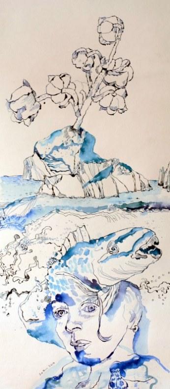 Sedna die Wellenhexe - Version 4 – 85 x 40 cm – Tusche auf Aquarellkarton (c) Zeichnung von Susanne Haun