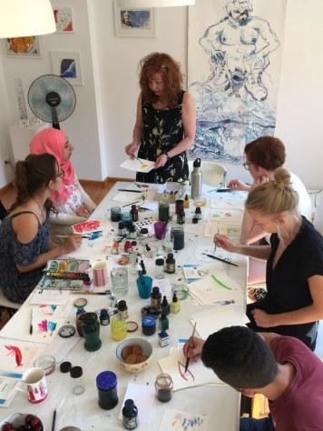 Zeichnen bei Susanne Haun mit Tandems von swaf (c) Foto von Claudia Jahnke
