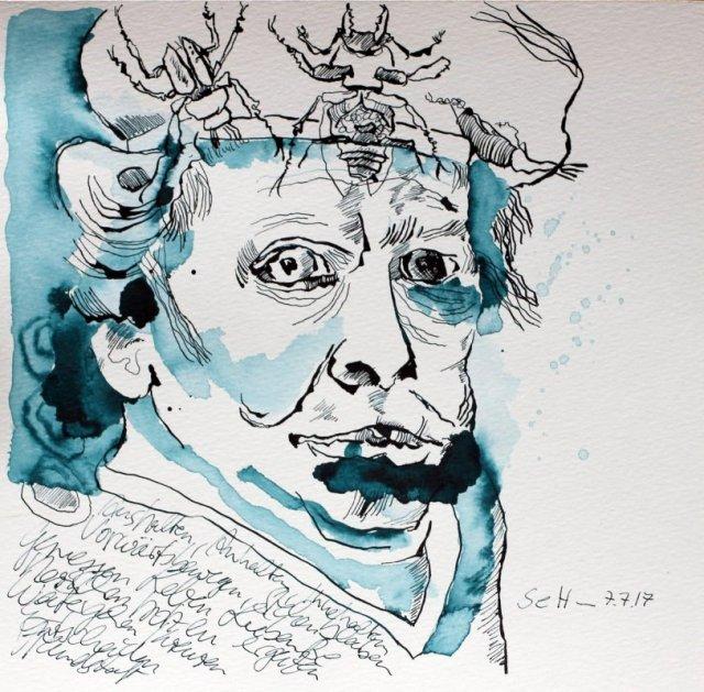 Acryl-Käfer bevölkern Rembrandt Kopf - 25 x 25 cm - Tusche auf Aquarellkarton (c) Zeichnung von Susanne Haun