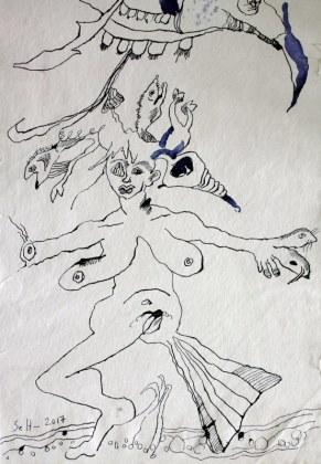 Detail Wie aus Uinigumasuittuq Sedna, die Herrscherin der Meere wurde - Verso - 145 x 33 cm - Tusche und Acryl auf Leinwand (c) Susanne Haun
