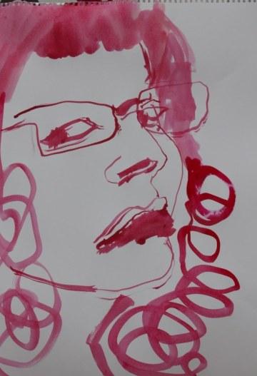Selbstportrait - für Jürgen - 60 x 40 cm - Tusche auf Skizzenpapier (c) Zeichnung von Susanne Haun