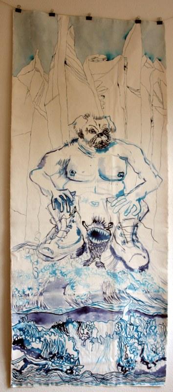 Von der Last des Hundemanns, seine Familie zu ernähren - Verso - 212 x 90 cm - Tusche und Acryl auf Leinwand (c) Susanne Haun