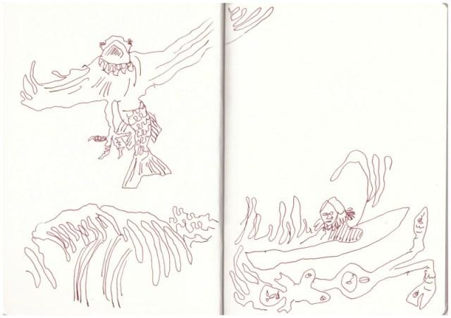 Eiswelten - Fulmur und der Vater (c) Zeichnung von Susanne Haun