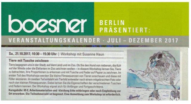 Workshop Boesner Tiere mit Tusche Zeichnen, Dozentin Susanne Haun