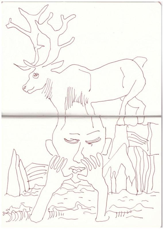 Alariaq und das Karibu (c) Zeichnung von Susanne Haun