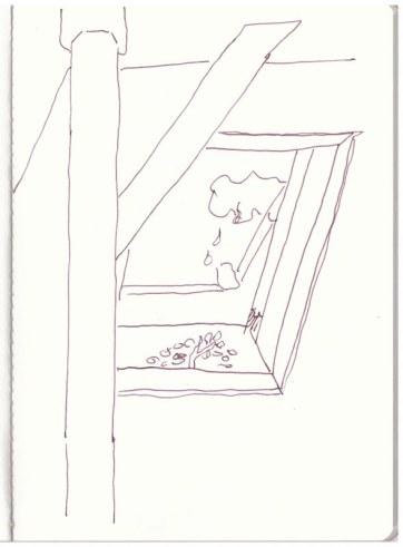 Blick aus dem Fenster in Buir (c) Zeichnung von Susanne Haun