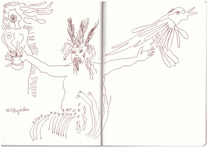 Zwei Hilfsgeister (c) Zeichnung von Susanne Haun