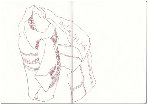 Verpacktes Unglück (c) Zeichnung von Susanne Haun