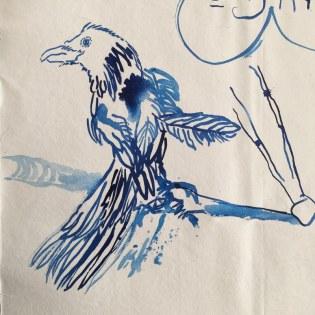 Detail Sketchnote Arktis auf Leinwand 215 x 95 cm (c) Zeichnung von Susanne Haun