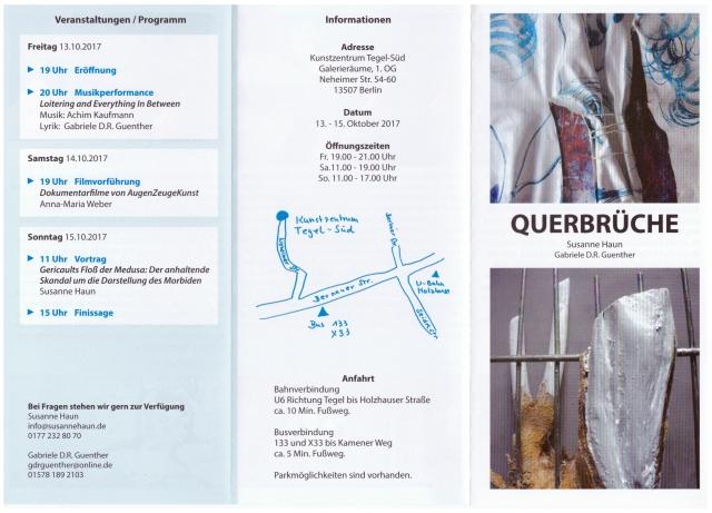 Einladung Ausstellung Querbrüche Susanne Haun und Gabriele Guenther Innen