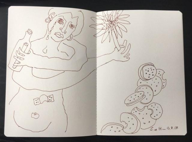 Trübsaal blasend Schokokekse essend (c) Zeichnung von Susanne Haun