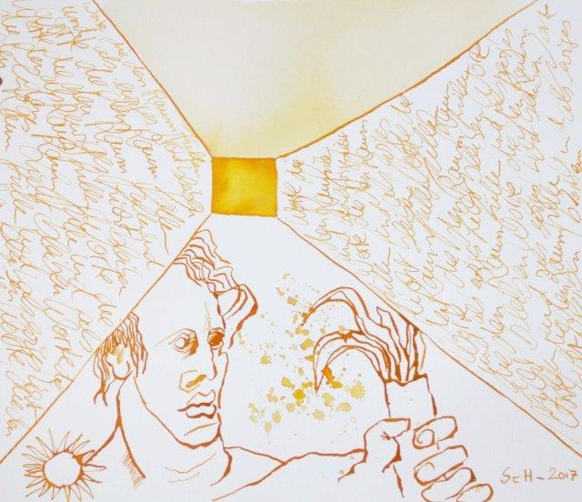 Worte, die den Raum füllen und als ewiges Licht bleiben (c) Zeichnung von Susanne Haun