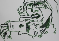 Selbstportrait für Jürgen - 60 x 40 cm – Tusche auf Skizzenpapier (c) Zeichnung von Susanne Haun