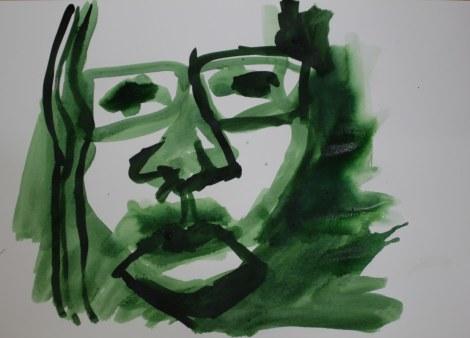 Selbstportrait für mich - 2 - 60 x 40 cm – Tusche auf Skizzenpapier (c) Zeichnung von Susanne Haun