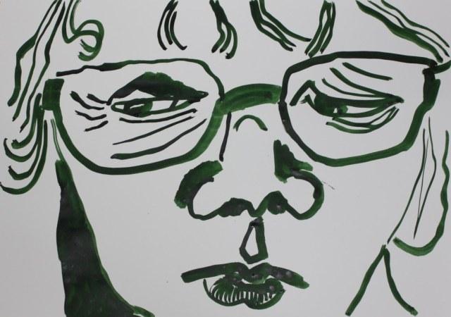 Selbstportrait für mich - 60 x 40 cm – Tusche auf Skizzenpapier (c) Zeichnung von Susanne Haun