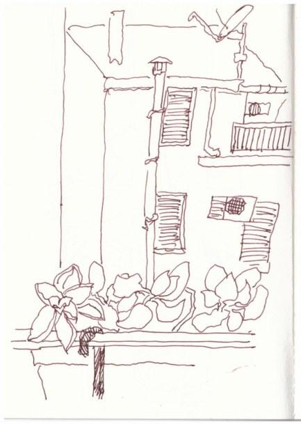 Sizilien Caronia - Ausblick aus unerer Ferienwohung (c) Zeichnung von Susanne Haun