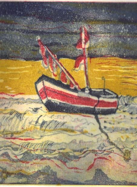 In der Ferne - 15 x 20 cm - Aquatinta 3 Platten - Ausschnitt (c) Radierung von Susanne Haun